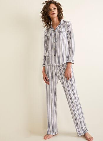 Claudel Lingerie - Pyjama Set , White,  pyjama set, pants, top, strip print, comfortable, pull-on, spring summer 2020