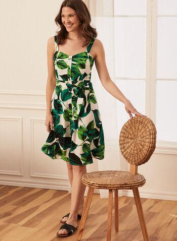 Tropical Print Button Front Dress, Green,  spring summer 2021, dress, day dress, tropical print, leaf print, sweetheart neckline, heart neck, wide strap, sleeveless, button front, tie belt, knee length