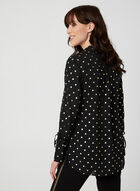Metallic Polka Dot Print Blouse, Black