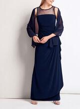 Robe drapée avec empiècement de maille et foulard, Bleu, hi-res