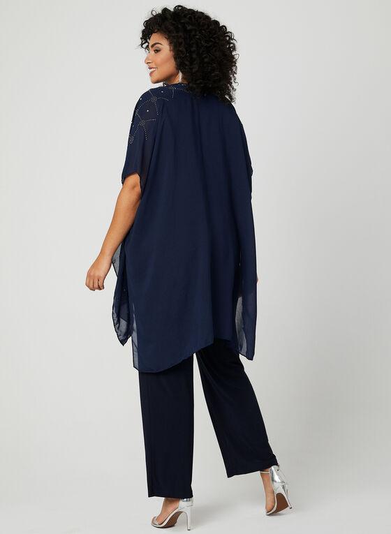 Embellished Open Front Poncho, Blue, hi-res
