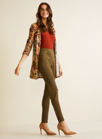 Floral Tapestry Open Front Top, Brown,  fall winter 2020, top, cardigan, 3/4 sleeve, floral, knit, made in Canada