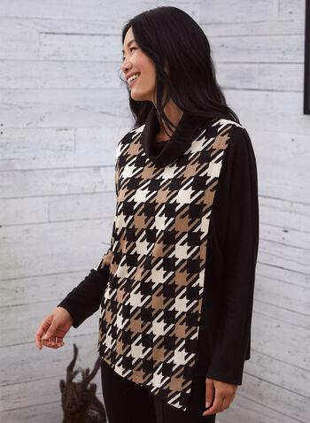 Haut en tricot à motif pied-de-poule, Noir,  automne 2021, fait au Canada, haut, pull, tricot, pied-de-poule, motif, col roulé, manches longues, manches ballon, asymétrique, ourlet, blocs de couleurs