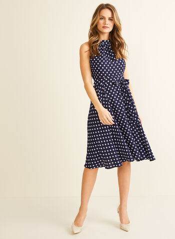Dot Print Midi Dress, Blue,  spring summer 2020, sleeveless, cleo neck, crepe fabric, dot print