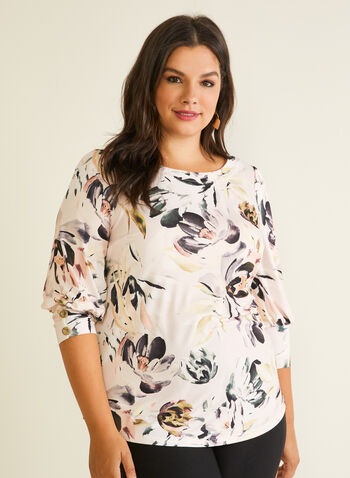Floral Print 3/4 Sleeve Top, Purple,  top, floral, buttons, 3/4 sleeves, spring summer 2020