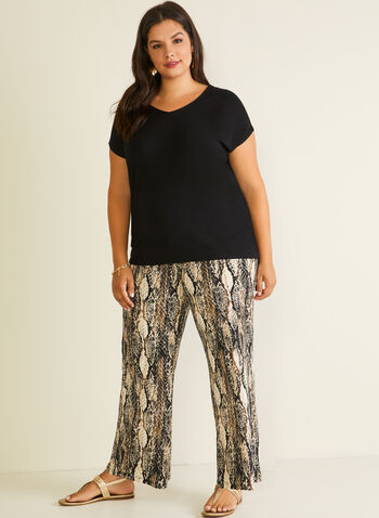 Pantalon palazzo motif serpent, Noir,  pantalon, pull-on, jersey, jambe large, serpent, printemps été 2020