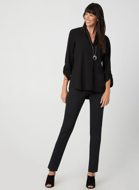 Crepe V-Neck Tunic Blouse, Black, hi-res