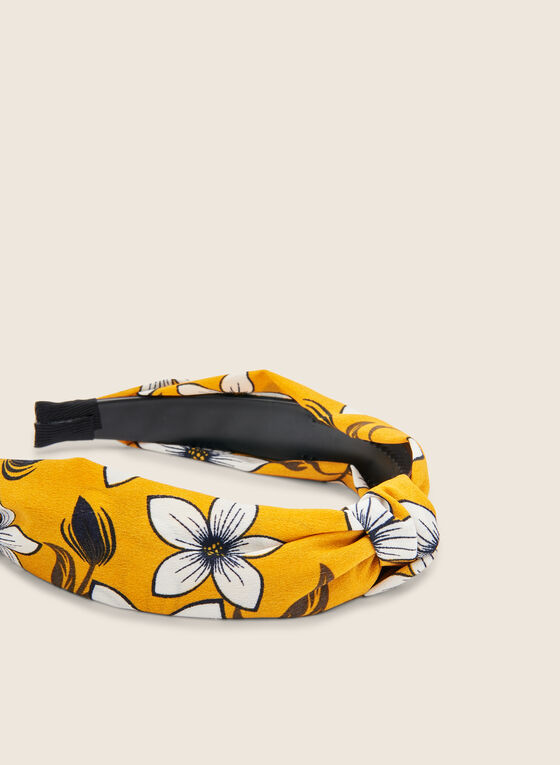 Serre-tête en tissu à motif floral, Jaune