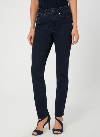 Jeans coupe Signature à jambe droite, Bleu,  strass, cristaux, 5 poches, automne hiver 2019