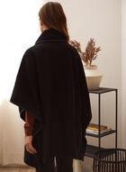 Cape à col montant en laine mélangée, Noir