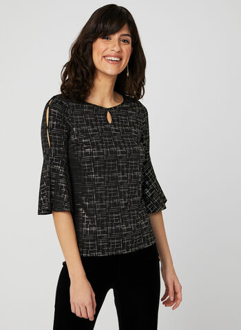 Foil Print Bell Sleeve Blouse, Black, hi-res