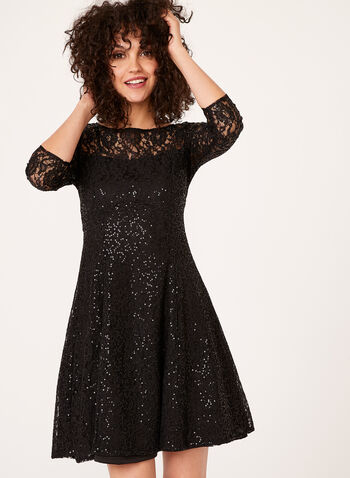 Sequin Lace Fit & Flare Dress, , hi-res