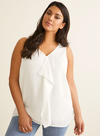 Sleeveless Ruffle Detail Blouse, Off White,  top, blouse, sleeveless, ruffle, v-neck, crepe, lined, spring summer 2020