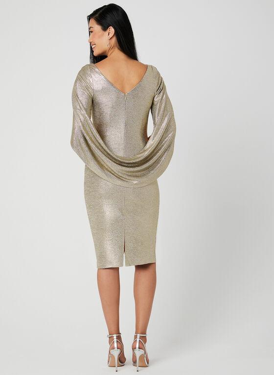 Robe métallisée à drapés, Or, hi-res
