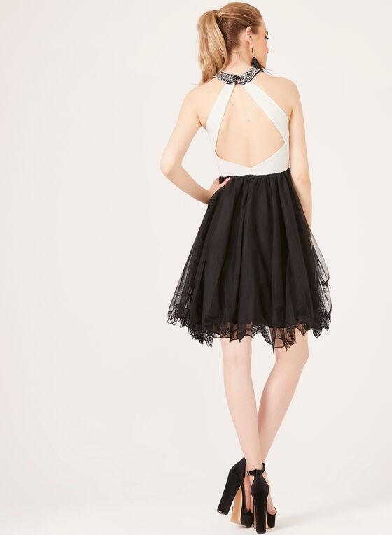 Cleo Neck Fit & Flare Dress, Black, hi-res