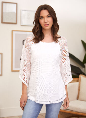 Crochet Knit Top, White,  spring summer 2021, crew neck, boat neck, scoop neck, 3/4 sleeves, made in Canada, knitwear,