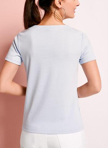 Metallic Ring Trim Cotton T-Shirt, Blue, hi-res