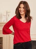 Bell Sleeve Lace Detail Tee, Red