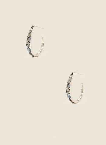 Anneaux ouverts à pierres et cristaux, Gris,   printemps été 2021, bijoux, boucles d'oreilles, étage, argenté, maillons, chaîne