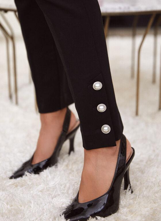 Pearl Detail Pull-On Pants, Black