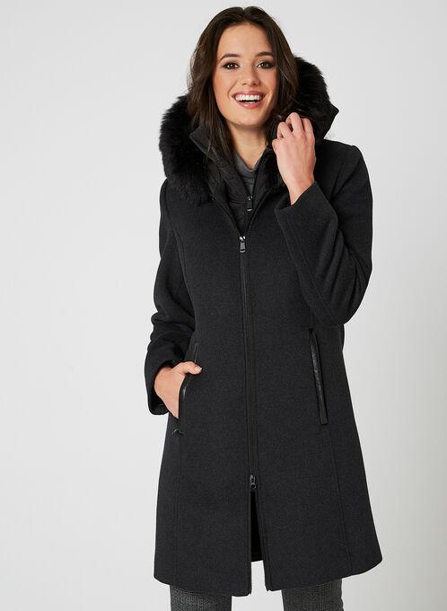 Fen-nelli - Manteau en laine à capuchon, Gris, hi-res