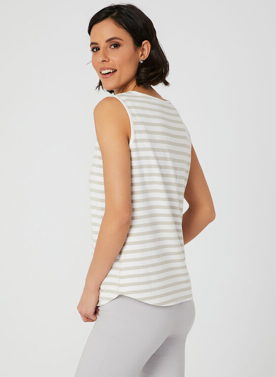 Stripe Print Sleeveless Top, White