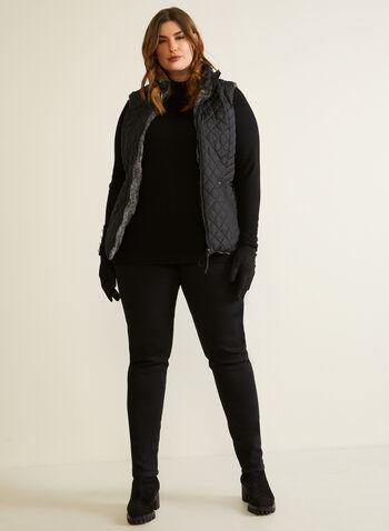 Weatherproof - Reversible Quilted Vest, Black,  fall winter 2020, vest, sleeveless, quilted, weatherproof, faux fur