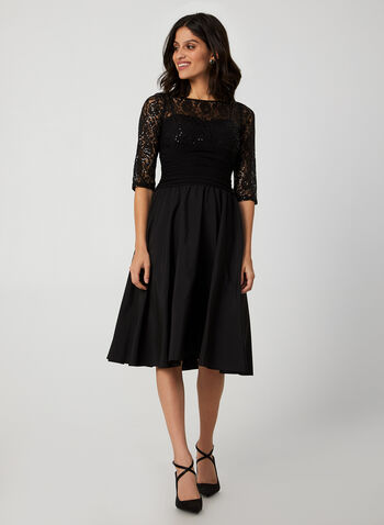 Lace Sequin Dress, Black,  dress, sequin, lace, midi length, fully lined, taffeta skirt, ruched waist, fall 2019
