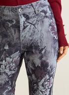 Floral Print Slim Leg Jeans, Grey