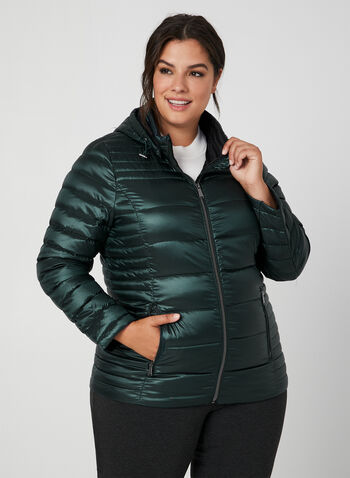 Quilted Packable Lightweight Coat, Green,  coat, quilted, removable hood, long sleeves, pockets, fall 2019, winter 2019