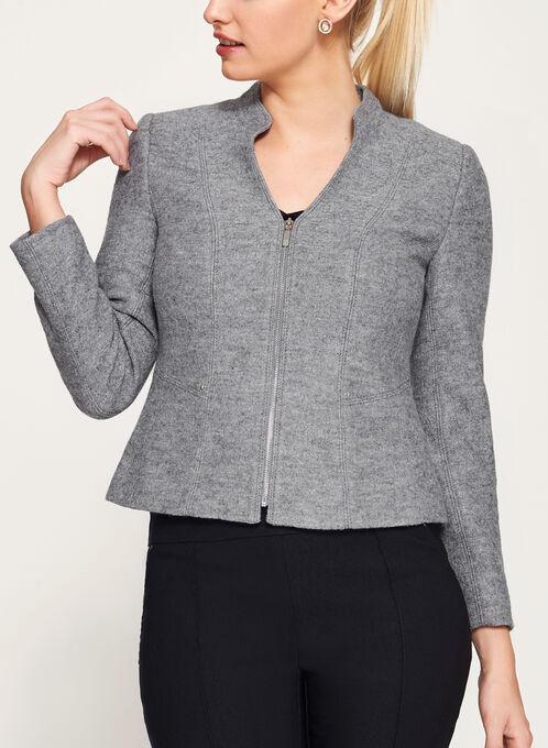 Boiled Wool Cropped Jacket, Grey, hi-res