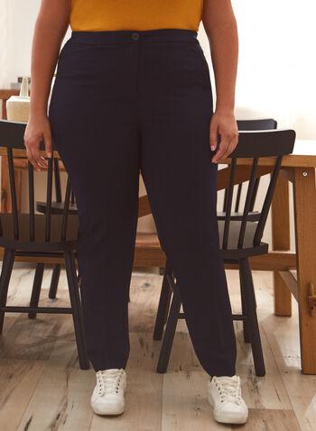 Pantalon coupe cité à jambe droite, Bleu,  pantalon, cité, droit, poches, pinces, automne hiver 2020