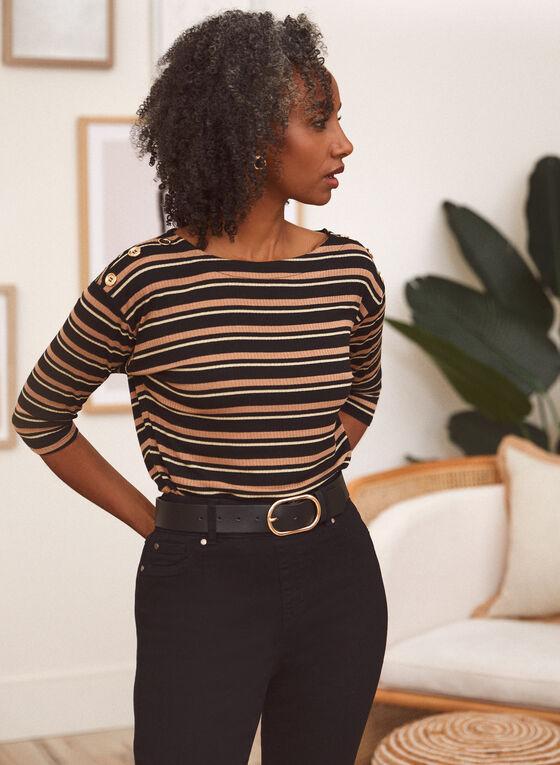 Metallic Stripe Motif Top, Brown