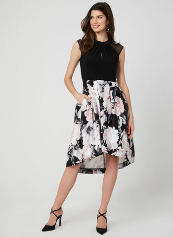 Floral Print Fit & Flare Dress, Black,  Spring 2019, floral print, Jersey, sleeveless, fit & flare