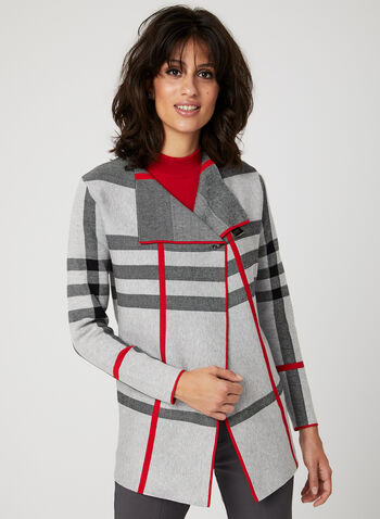 Alison Sheri - Plaid Print Cardigan, Grey, hi-res