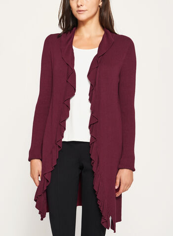 Ruffle Trim Open Front Cardigan, Red, hi-res