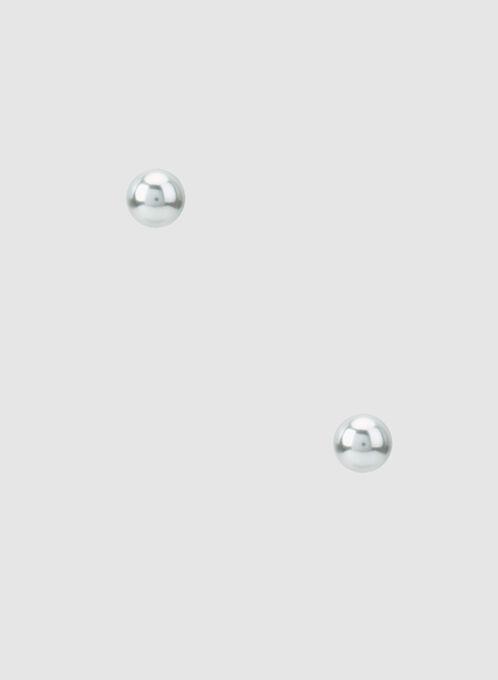 Pearl Stud Earrings, Grey