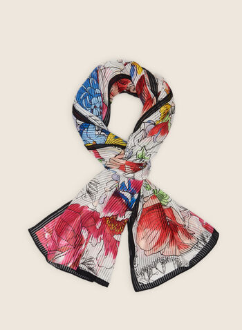 Vince Camuto - Pleated Floral Lightweight Scarf, Multi,  scarf, lightweight, pleated, floral, contrast, satin, spring summer 2020