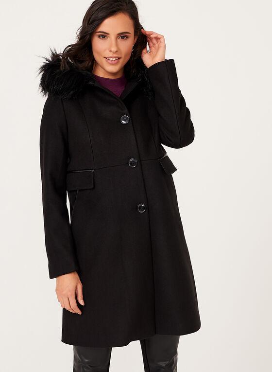 Manteau aspect laine avec capuchon en fausse fourrure amovible, Noir, hi-res