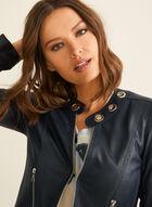 Vex - Eyelet Detail Faux Leather Blazer, Blue