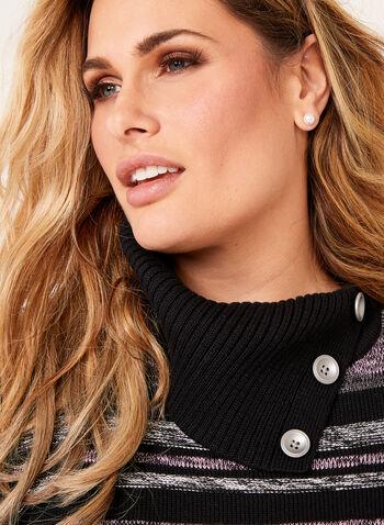 Striped Rib-Knit Sweater, Black, hi-res