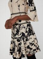 Floral Print Fit & Flare Dress, Off White, hi-res