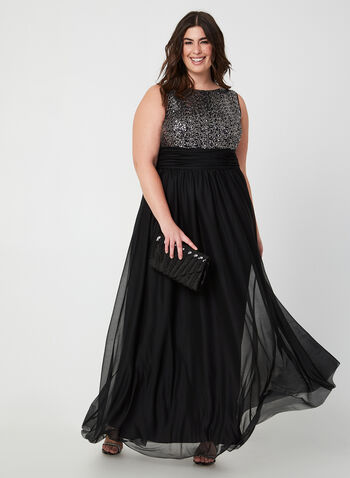 Sleeveless Sequin Dress, Black,  dress, occasion dress, gown, sleeveless, sequins, fall 2019, winter 2019