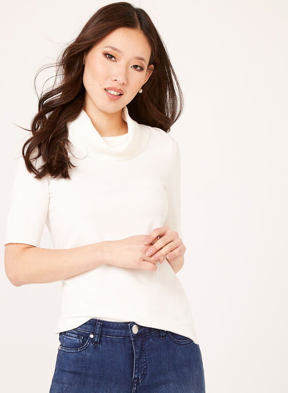Short Sleeve Cowl Neck Sweater , Off White, hi-res