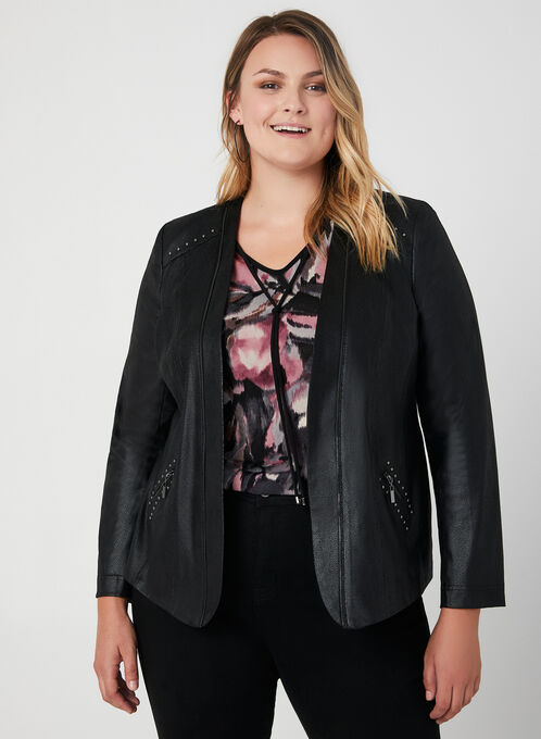 Cropped Faux Suede Jacket, Black