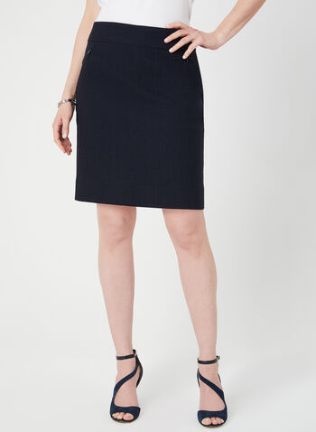 Mode de Vie – Textured Short Skirt, Blue, hi-res