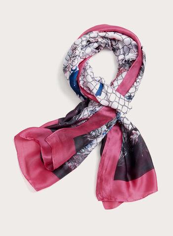 Foulard léger avec motif printanier, Rose, hi-res