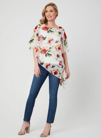 Floral Print Poncho Blouse, White, hi-res,  chiffon, short sleeves, asymmetric, spring 2019