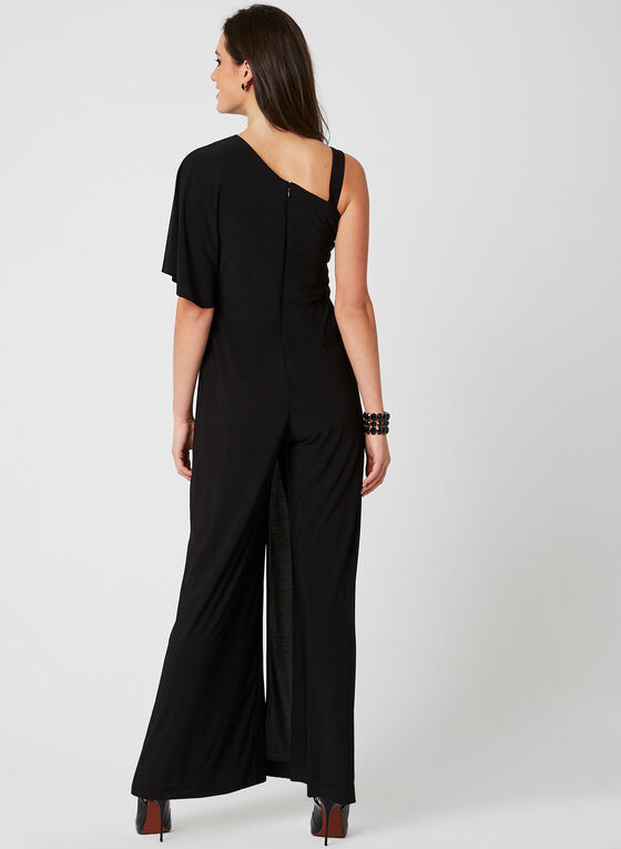 One Shoulder Poncho Jumpsuit	, Black, hi-res
