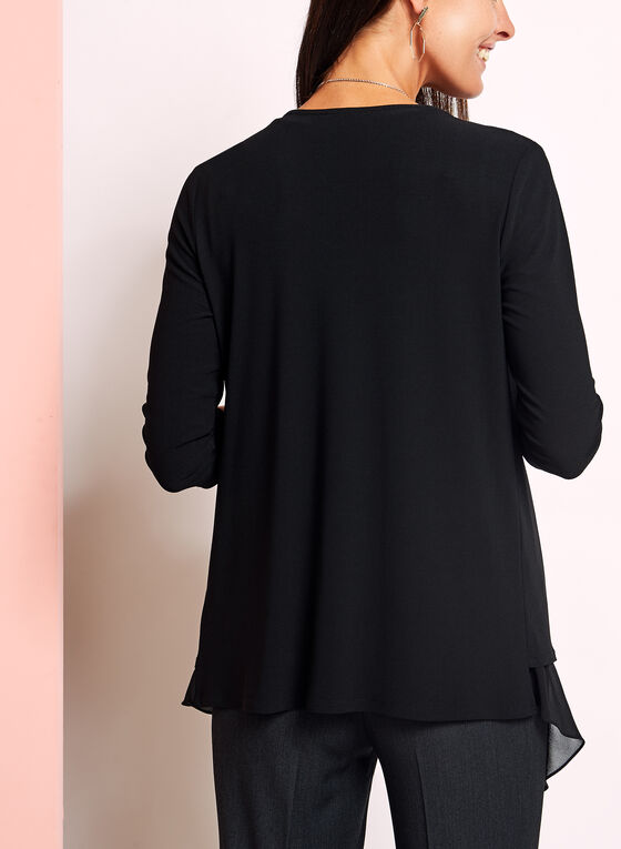 ¾ Sleeve Crepe Cover Up, Black, hi-res